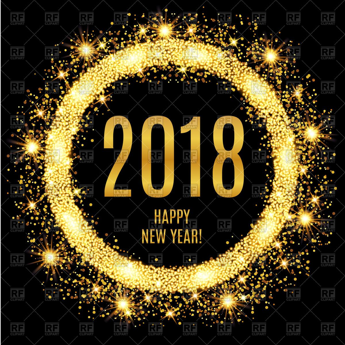 New years eve 2018 clipart png royalty free library 2018 Happy New Year glowing gold background Vector Image ... png royalty free library