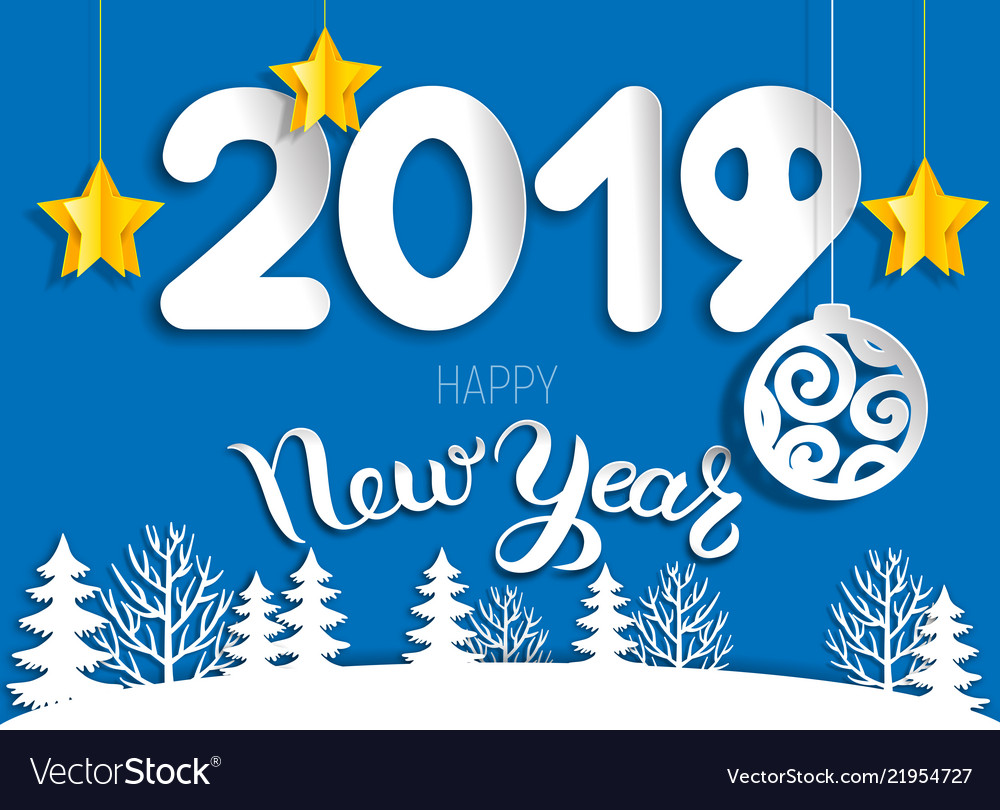 New year greeting cards clipart banner New year greeting card 2019 of cut paper layers banner