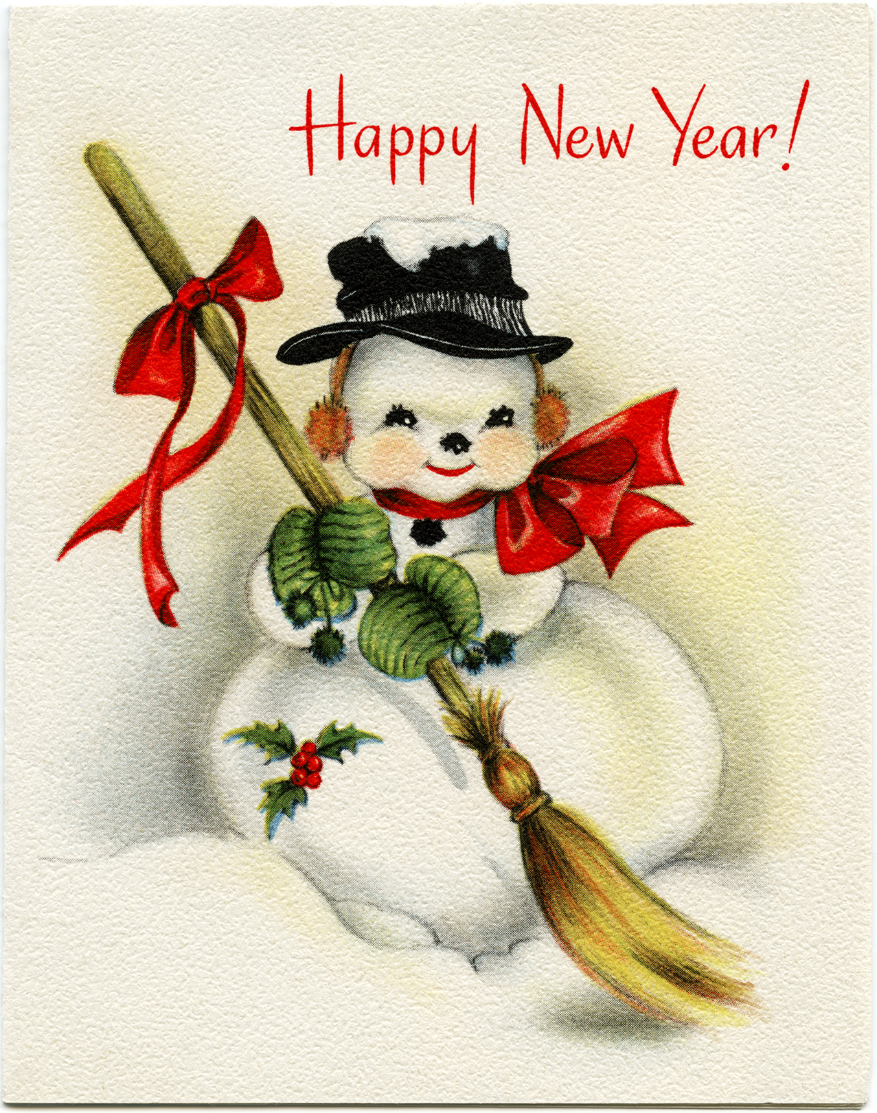 Free clipart happy new year greeting svg library stock Vintage Snowman New Year Greeting Card - Old Design Shop Blog svg library stock
