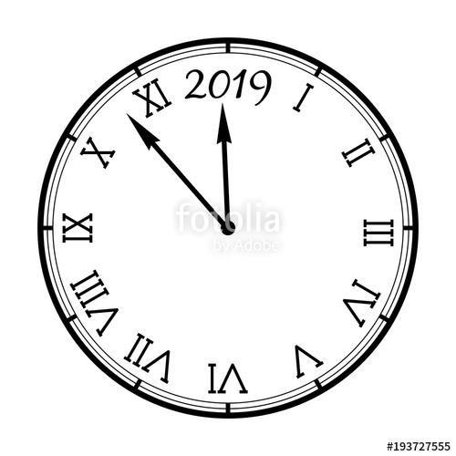 New year clipart 2019 black and white picture royalty free New Year 2019 clock icon isolated on white\