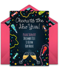 New years day spanish black and white clipart clip freeuse Free New Year\'s Eve Online Invitations   Punchbowl clip freeuse