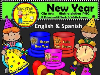 New years day spanish black and white clipart clip transparent stock FREEBIE Happy New Year Clipart Digital Images English and ... clip transparent stock
