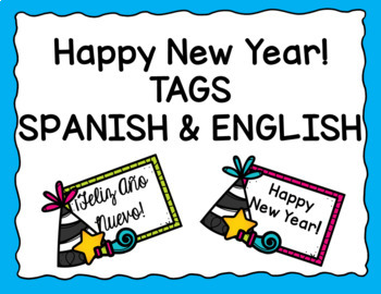 New years day spanish black and white clipart picture stock New Years Tags - Spanish & English by Made for Teaching 1st ... picture stock