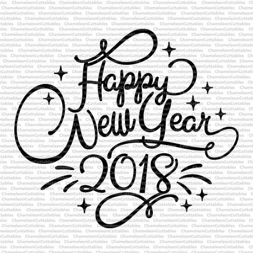 New years eve 2018 clipart banner black and white library Happy New Year, 2018, svg, cut, file, vector, graphic, clip art ... banner black and white library