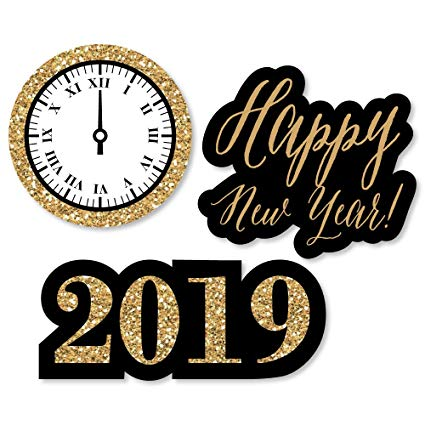 New years eve 2019 clipart picture black and white download Big Dot of Happiness New Year\'s Eve - Gold - DIY Shaped 2019 New Years Eve  Party Cut-Outs - 24 Count picture black and white download