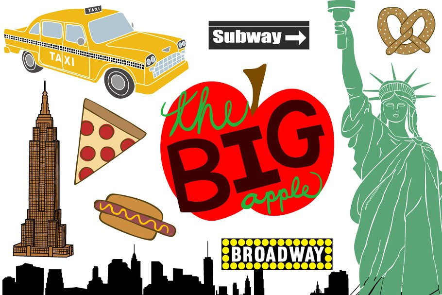 New york clipart images banner freeuse stock New York City Vector Clip Art ~ Illustrations ~ Creative Market banner freeuse stock