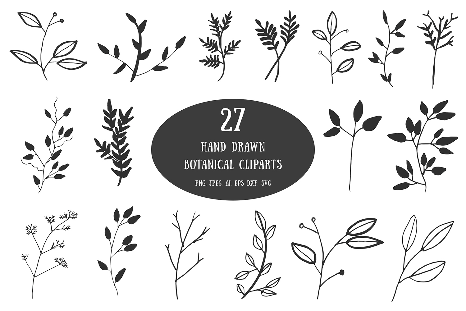 Newness of life clipart black and white svg black and white library 20+ Handdrawn Botanical Cliparts svg black and white library