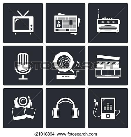 News media clipart banner freeuse Clipart of Media icon set - video, news, music, TV, recording ... banner freeuse