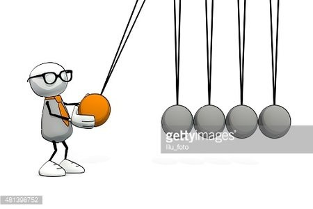 Newton balls clipart clip art royalty free Little Sketchy Man With Glasses Starting A Newton Cradle premium ... clip art royalty free