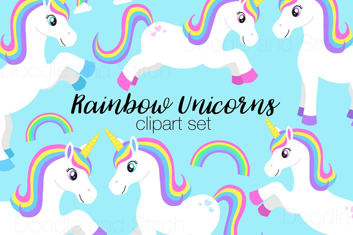 Unicoen clipart banner royalty free stock Rainbow Unicorn Clipart Designs banner royalty free stock