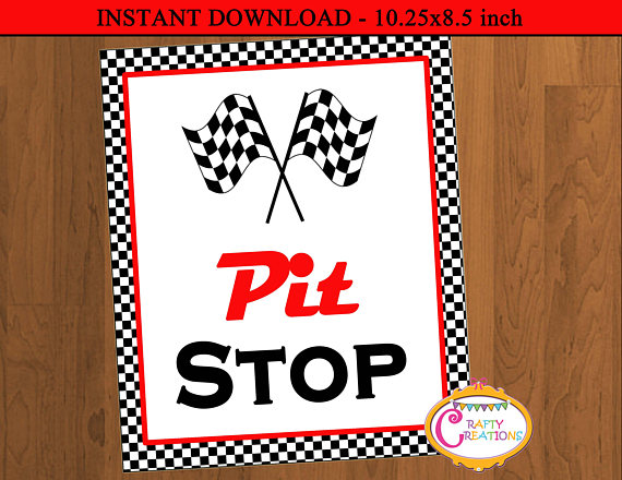 Night club party signs clipart black and white to print image royalty free library INSTANT DOWNLOAD - Pit Stop Party Sign -Race Car Party Pit Stop Sign ... image royalty free library