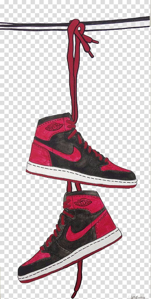 Nike air jordan clipart svg free stock Pair of black-and-red Nike Air Jordan 1 shoes illustration, Jumpman ... svg free stock