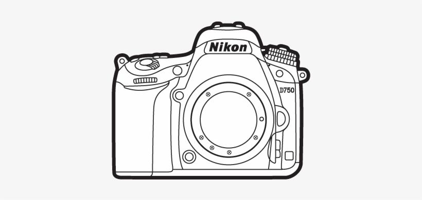 Nikon d750 clipart vector library stock Nikon D750 Dslr Camera Lineart - Camara Nikon Para Colorear - Free ... vector library stock