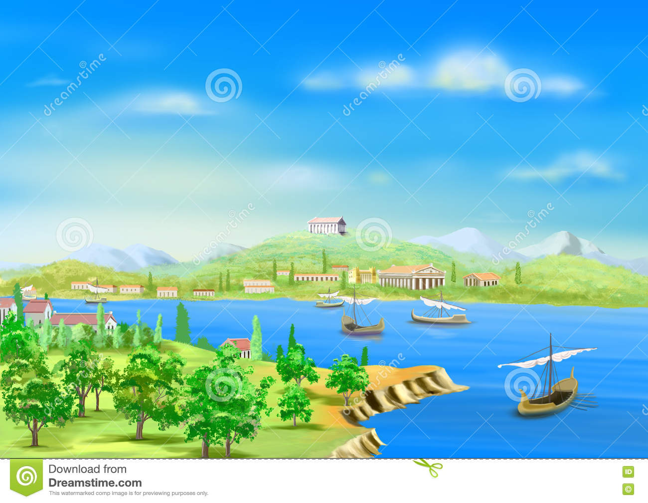 Nile river clipart vector free library Ancient City In Egypt, On The Banks Of The Nile River Stock ... vector free library