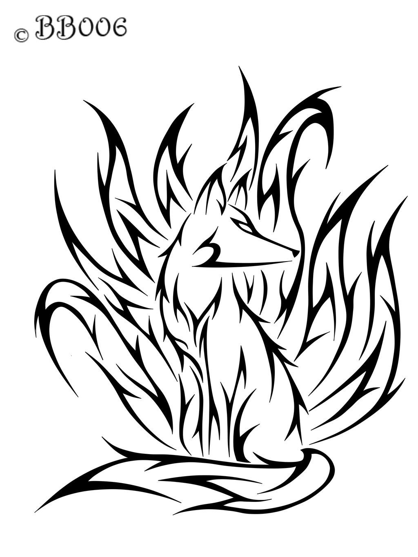 Nine tailed fox clipart vector royalty free Nine Tailed Fox Drawing | Free download best Nine Tailed Fox Drawing ... vector royalty free