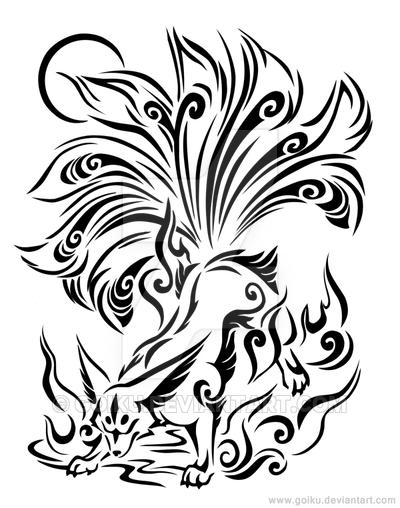 Nine tailed fox clipart clip free Nine-tailed fox line-art - Complete by goiku on DeviantArt ... clip free