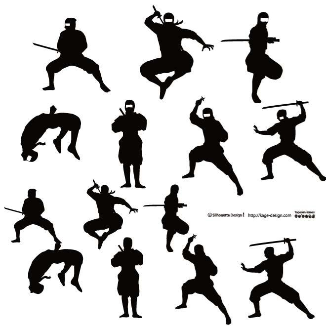 Ninja silhouette fighting clipart black and white vector transparent library NINJA WARRIORS VECTOR SET - Free vector image in AI and EPS format. vector transparent library