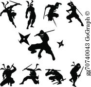 Ninja silhouette fighting clipart black and white picture black and white library Ninja Silhouette Clip Art - Royalty Free - GoGraph picture black and white library