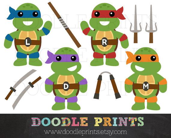 Ninja turtle printable clipart vector download TMNT Ninja Turtles - Digital Clip Art Printable Images - Teenage ... vector download