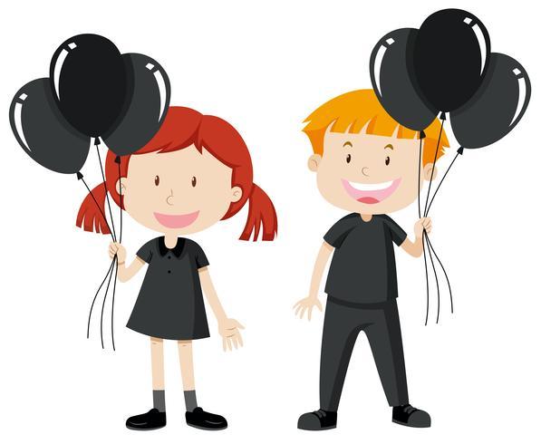 Nino y nina negros clipart free clipart freeuse library Niño y niña sosteniendo globos negros - Descargue Gráficos y ... clipart freeuse library