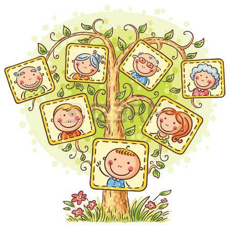 Ninos y sus familias en la clase clipart banner royalty free stock arbol genealógico: Árbol de familia feliz en imágenes, pequeño niño ... banner royalty free stock