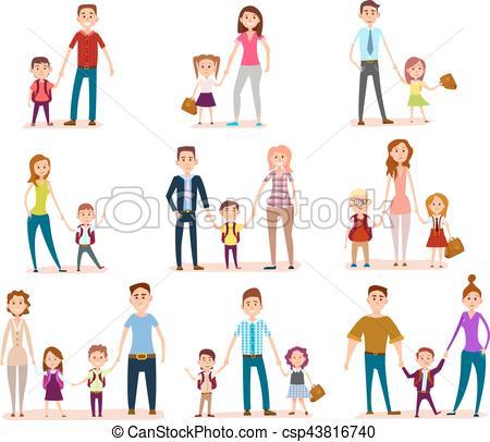 Ninos y sus familias en la clase clipart vector stock su, escuela, padres, niños, colección vector stock