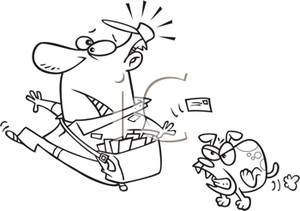 Nipped clipart vector black and white A Black and White Cartoon of a Vicious Dog Chasing a Postman ... vector black and white