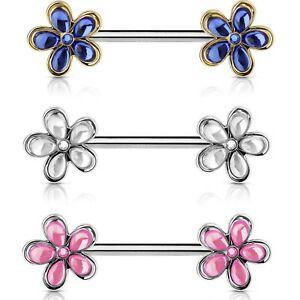 Nipple piercing clipart image royalty free Details about CRYSTAL-SET FLOWERS NIPPLE PIERCING BARBELLS RINGS 14g 9/16\