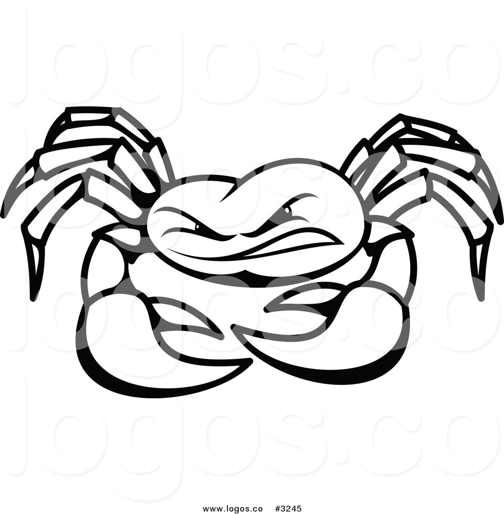 No copyright crab clipart black and white svg freeuse stock Royalty Free Vector of a Black and White Crab Logo by Vector ... svg freeuse stock