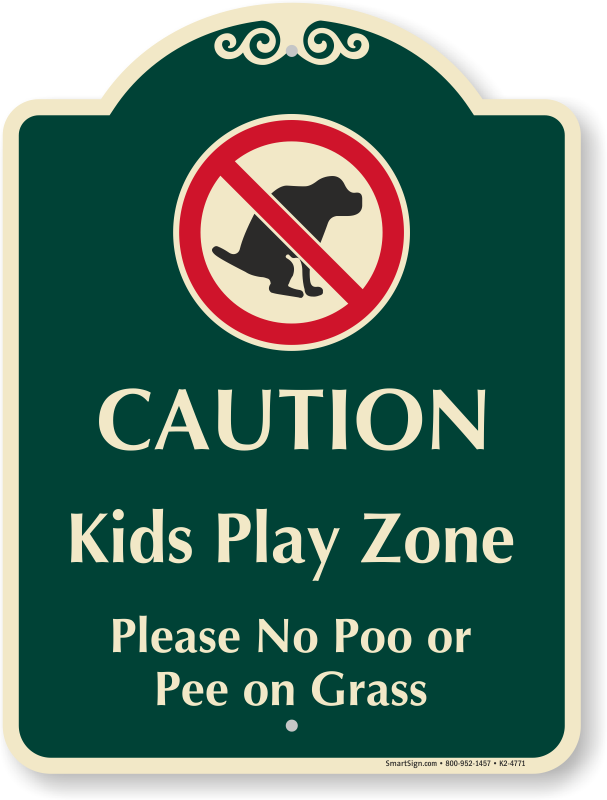 No dog poop clipart free clip art black and white download Kids Play Zone No Poo Or Pee On Grass Signature Sign, SKU: K2-4771 clip art black and white download