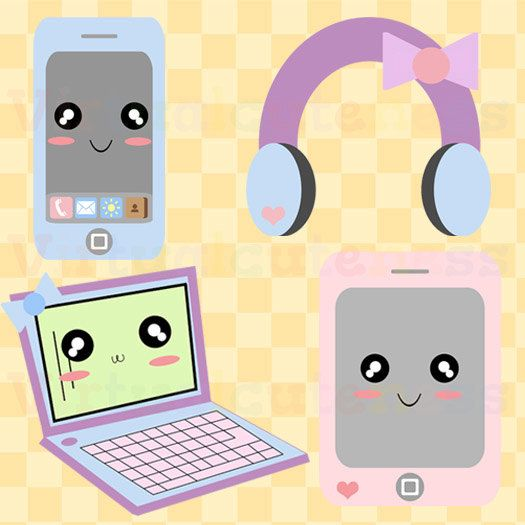 No electronics at night clipart picture download Kawaii Pastel Electronics Clip Art - Phone Clipart, Laptop ... picture download