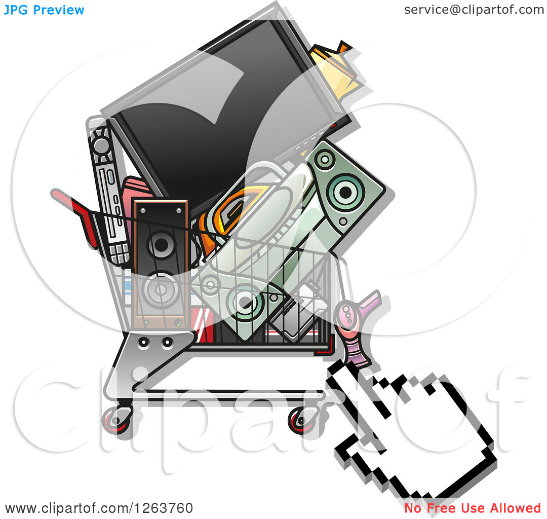 No electronics clipart picture royalty free download Clipart of a Hand Cursor over a Shopping Cart Full of Electronics ... picture royalty free download