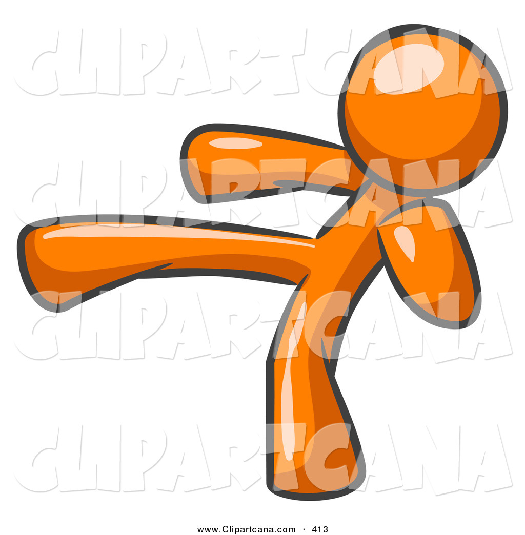No kick clipart picture black and white library Vector Clip Art of a Shiny Orange Man Kicking, Perhaps While ... picture black and white library