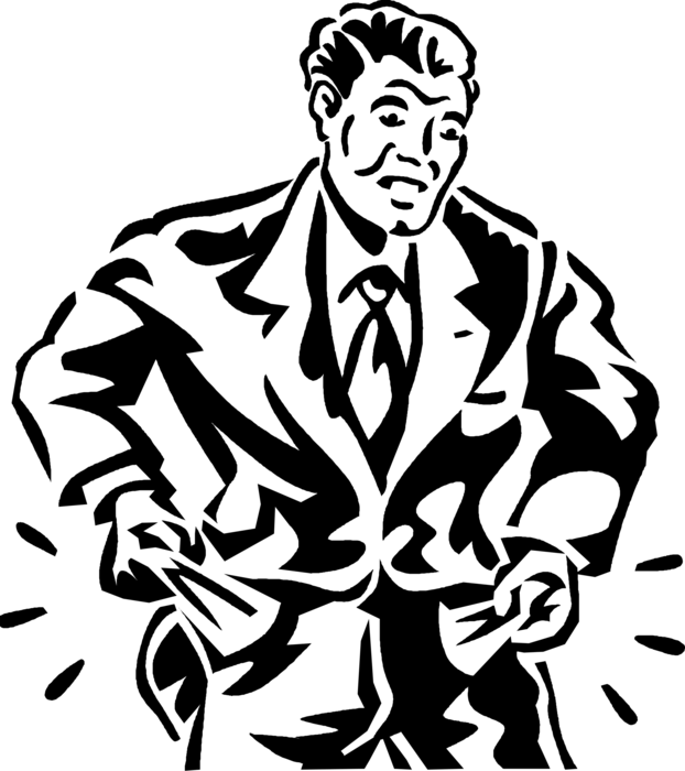 No money empty pocket clipart transparent black and white vector transparent Destitute Executive with Empty Pockets - Vector Image vector transparent