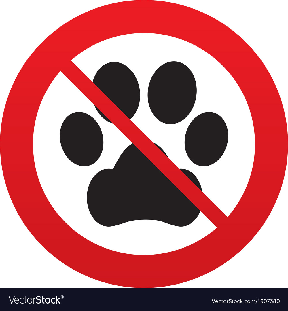 No pets allowed clipart image black and white library No Dog paw sign icon Pets symbol image black and white library