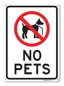 No pets allowed clipart jpg freeuse Details about No Pets Allowed Sign, Large 10 X 14\