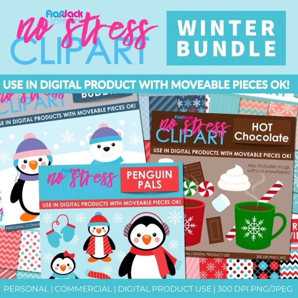 No stress clipart image black and white stock Winter Clipart And Digital Papers BUNDLE - FlapJack Educational Resources image black and white stock