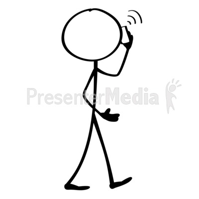 No talking stick figure clipart black and white black and white library Line Figure Mobile Phone - Presentation Clipart - Great ... black and white library