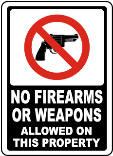 No weapons clipart banner black and white No Weapons Signs for Your Property – USA Made No Guns Signs banner black and white