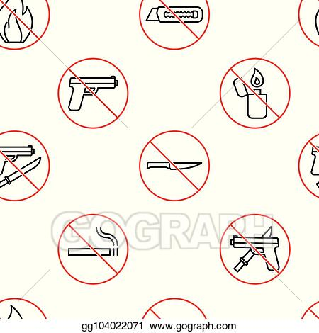 No weapons clipart image black and white library Vector Illustration - Seamless no weapons icon pattern on ... image black and white library