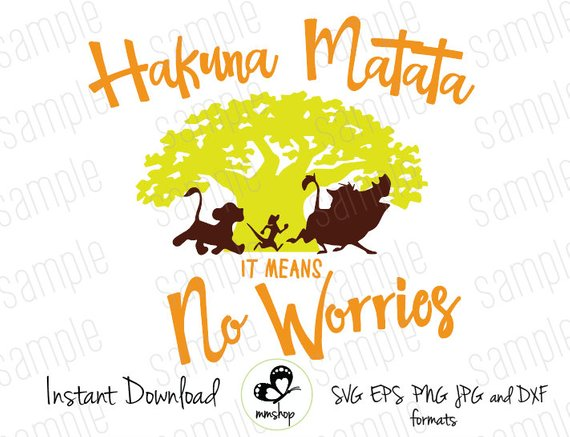 No worries clipart clipart black and white download Hakuna Matata - It Means No Worries - Instant Download - SVG ... clipart black and white download