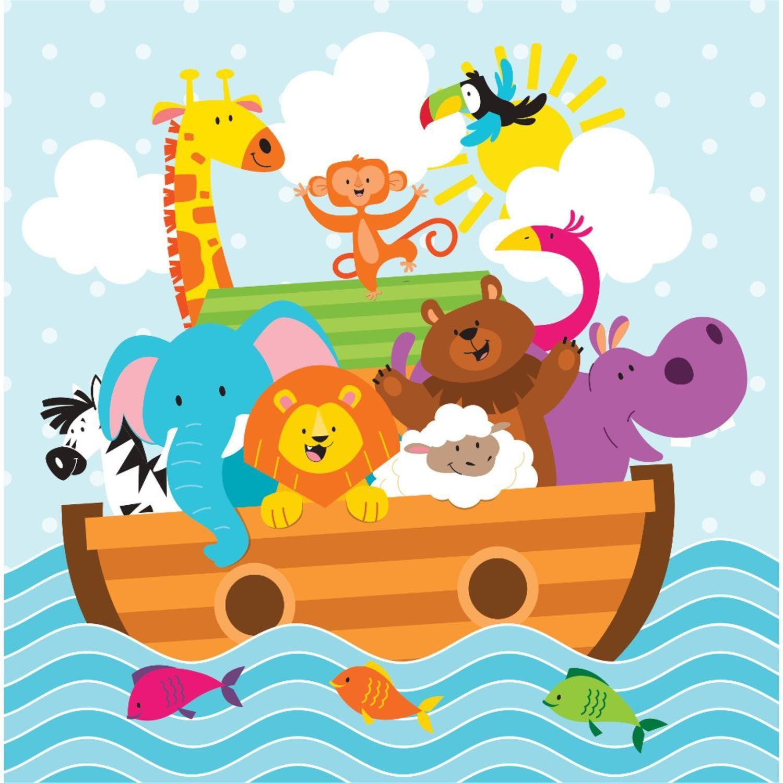 Noah s ark animals clipart 1500 x 1500 svg transparent stock Club Pack of 192 Noah\'s Ark Paper Party Disposable 2-Ply ... svg transparent stock