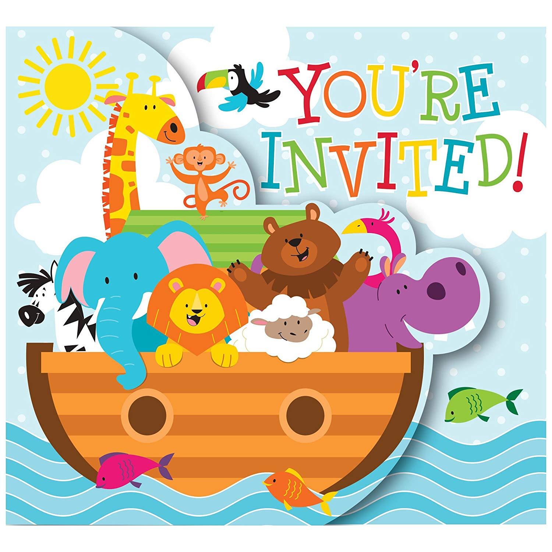 Noah s ark animals clipart 1500 x 1500 vector royalty free stock Noah\'s Ark Gatefold Invitations 8 Per Pack vector royalty free stock