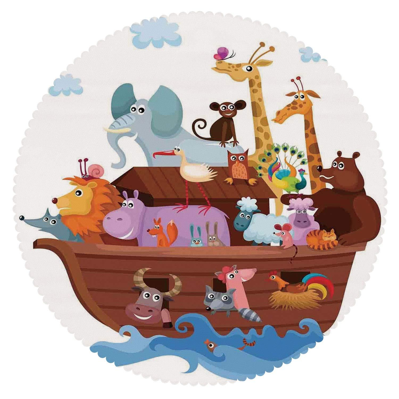 Noah s ark animals clipart 1500 x 1500 clip art freeuse download Amazon.com: iPrint Round Tablecloth [ Noahs Ark,Happy ... clip art freeuse download