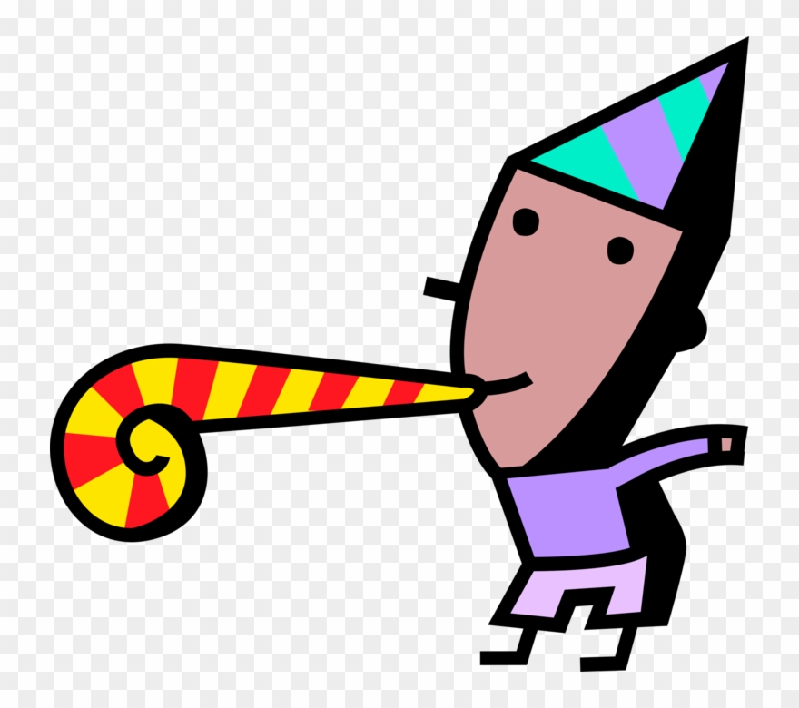 Noisemaker clipart picture stock Vector Illustration Of Birthday Boy Blows Party Noisemaker ... picture stock