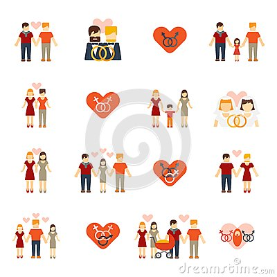 Non traditional family clipart jpg black and white library Non-traditional Family Icons Set Flat Stock Vector - Image: 50166299 jpg black and white library