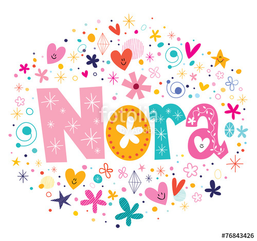 Nora clipart jpg royalty free stock Nora female name design decorative lettering type\