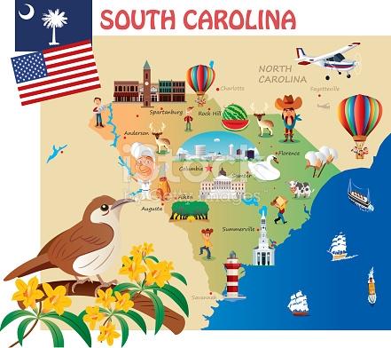 North carolina map clipart cartoon jpg black and white stock Cartoon Map Of South Carolina stock vector art 530008690 | iStock jpg black and white stock