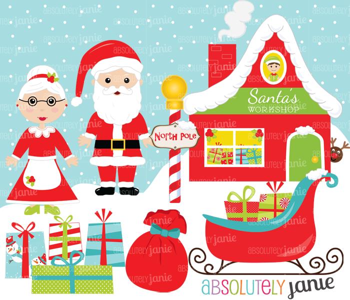 North pole santa clipart clipart transparent download Santa Workshop Christmas Clipart Set - North Pole - Holiday ... clipart transparent download