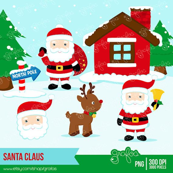 North pole santa clipart clip royalty free library SANTA CLAUS Digital Clipart, Christmas Clipart, Santa ... clip royalty free library